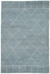 5' x 8' Area Rug Rectangle Blue White Nostalgia Tangier NS04 Handmade Hand-Knotted