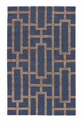 "9'6"" x 13'6"" Area Rug Rectangle Navy Gray City Dallas CT37 Handmade Hand-Tufted"