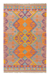 5' x 8' Area Rug Rectangle Multicolor Anatolia Kaliediscope AT07 Handmade Dhurrie