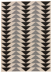 "7'11"" x 10' Area Rug Rectangle Black Cream Patio Mckenzie PAO04 Handmade Hand-Knotted"
