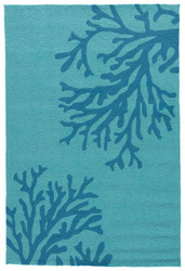 "3'6"" x 5'6"" Area Rug Rectangle Teal Blue Grant I-O Bough Out GD50 Handmade Hand-Tufted"