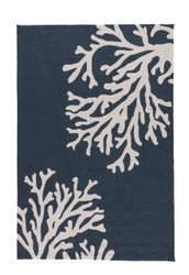 "3'6"" x 5'6"" Area Rug Rectangle Navy Cream Grant I-O Bough Out GD48 Handmade Hand-Tufted"