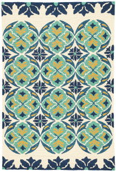 "5' x 7'6"" Area Rug Rectangle Blue Green Barcelona I-O Malta BA45 Handmade Hand-Hooked"