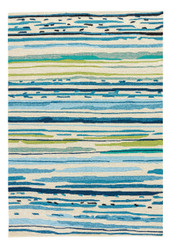 "5' x 7'6"" Area Rug Rectangle Blue Green Colours Sketchy Lines CO19 Handmade Hand-Tufted"