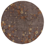 8' x Area Rug Round Gray Gold Brio Cherry Blossom BR16 Handmade Hand-Tufted Transitional