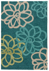 "7'6"" x 9'6"" Area Rug Rectangle Teal Green Catalina Blossomed CAT08 Handmade Hand-Hooked"