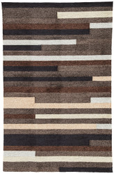 "5' x 7'6"" Area Rug Rectangle Gray Brown Catalina Offset Lines CAT10 Handmade Hand-Hooked"