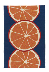 "3'6"" x 5'6"" Area Rug Rectangle Orange Blue Grant I-O Citrus GD44 Handmade Hand-Tufted"