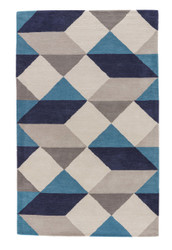 2' x 3' Area Rug Rectangle Blue Gray En Casa By Luli Sanchez Tufted Ojo LST17 Handmade