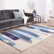 8' x 11' Area Rug Rectangle Blue Gray En Casa By Luli Sanchez Tufted Painterly LST35