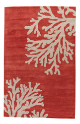 5' x 8' Area Rug Rectangle Coral Tan Coastal Seaside Bough COS02 Handmade Hand-Tufted