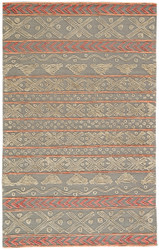 5' x 8' Area Rug Rectangle Gray Pink Stitched Etched STI03 Handmade Hand-Tufted
