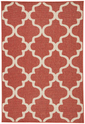"7'11"" x 10' Area Rug Rectangle Red White Bloom Stamped BLO27 Machine Made Power-Loomed"