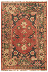 2' x 3' Area Rug Rectangle Red Black Village By Artemis Azra VBA02 Handmade Hand-Knotted