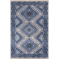 9' x 12' Area Rug Rectangle Blue Light Gray Village By Artemis Hobbs VBA03 Handmade