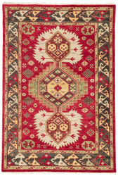 2' x 3' Area Rug Rectangle Red Olive Village By Artemis Karter VBA01 Handmade