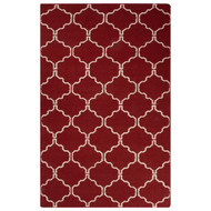 5' x 8' Area Rug Rectangle Red White Maroc Delphine MR130 Handmade Dhurrie Contemporary