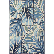 "5' x 7'6"" Area Rug Rectangle Blue White Design Campus-Indoor Outdoor Ten Palms DCI02"