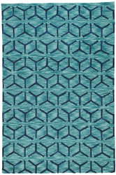 "7'6"" x 9'6"" Area Rug Rectangle Blue Fusion Thorton FN44 Handmade Hand-Tufted Mid-Century"