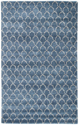 "9'6"" x 13'6"" Area Rug Rectangle Blue Gray Baroque Clan BQ36 Handmade Hand-Tufted"