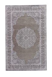 """7'6"""" x 9'6"""" Area Rug Rectangle Gray Silver Fables Malo FB121 Machine Made Power-Loomed"""