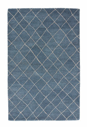 "9'6"" x 13'6"" Area Rug Rectangle Blue Riad Gem RIA02 Handmade Hand-Tufted Moroccan"