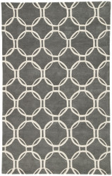 "9'6"" x 13'6"" Area Rug Rectangle Gray White Lounge Abeet LOE08 Handmade Hand-Tufted"