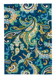 9' x 12' Area Rug Rectangle Blue Green Barcelona I-O Calico BA23 Handmade Hand-Hooked