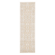 "2'6"" x 8' Area Rug Runner Beige Blue Fables Regal FB07 Machine Made Power-Loomed"