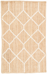 2' x 3' Area Rug Rectangle Beige White Subra By Nikki Chu Aten SNK14 Handmade Hand-Woven