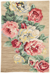 "5' x 7'6"" Area Rug Rectangle Gold Pink Flora Corsage FLO06 Handmade Hand-Tufted Vintage"