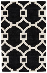 5' x 8' Area Rug Rectangle Black White City Regency CT94 Handmade Hand-Tufted