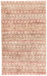 5' x 8' Area Rug Rectangle Brown Red Croix Cane CRX03 Handmade Hand-Knotted Global