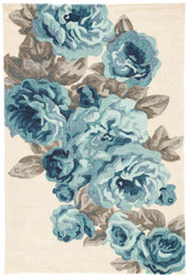 "5' x 7'6"" Area Rug Rectangle White Blue Flora Corsage FLO07 Handmade Hand-Tufted Vintage"