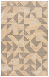 5' x 8' Area Rug Rectangle Beige Gray Collins Utah COI03 Handmade Flat-Woven Mid-Century