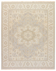 8' x 10' Area Rug Rectangle Light Gray Gold Jaimak Barda JM33 Handmade Hand-Knotted