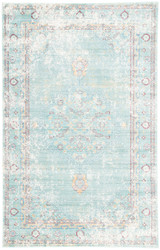 "7'8"" x 10' Area Rug Rectangle Teal White Ceres Eris CER02 Machine Made Power-Loomed"
