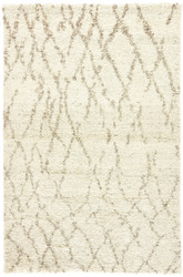 5' x 8' Area Rug Rectangle Cream Brown Zuri Invoke ZUI07 Handmade Hand-Knotted Moroccan