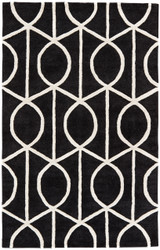 9' x 12' Area Rug Rectangle Black White City Seattle CT96 Handmade Hand-Tufted