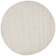 8' x Area Rug Round Blue Ivory City Bellevue CT27 Handmade Hand-Tufted Contemporary