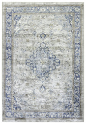 "5'3"" x 7'6"" Area Rug Rectangle Blue Gray Greyson Caren GRY07 Machine Made Power-Loomed"
