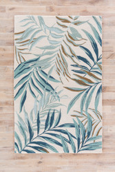 5' x 8' Area Rug Rectangle White Blue Coastal Resort Peninsula COR30 Handmade