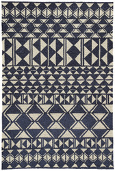 "5' x 7'6"" Area Rug Rectangle Navy Cream Catalina Botella CAT56 Handmade Hand-Hooked"