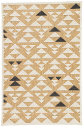 "5' x 7'6"" Area Rug Rectangle Beige White Meridian Sims MED02 Machine Made Power-Loomed"