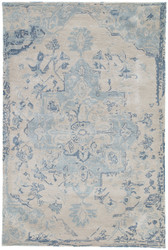 2' x 3' Area Rug Rectangle Beige Dark Blue Citrine Sasha CIT03 Handmade Hand-Tufted