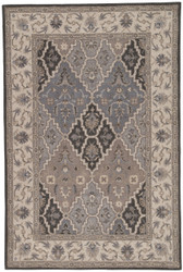 5' x 8' Area Rug Rectangle Gray Tan Poeme Lille PM152 Handmade Hand-Tufted Traditional