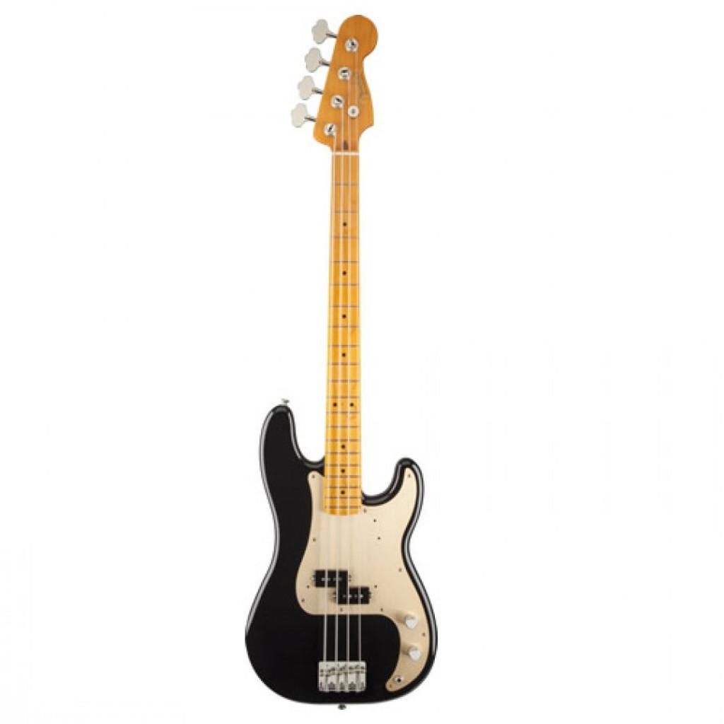 Fender 50's P Bass MN Blk- Front- Maple Neck