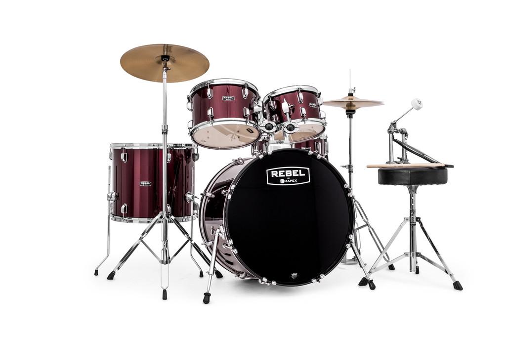 Dark Red Rebel 5 piece Drum Set