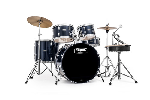 Royal Blue Rebel 5 piece Drum Set