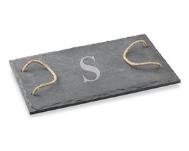 "Monogrammed Slate Board with Rope Handles - 15"" x 8"""
